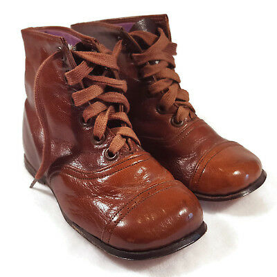 Vintage Leather Boys Shoes Lace Up made in Germany Brown NEVER USED