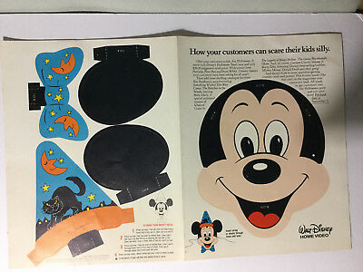 Vintage Halloween Disney Mickey Mouse Minnie Reversible Paper Mask Promo WDP1984