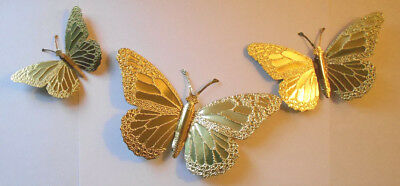 Golden textured HOMCO Home Interiors Brass Butterflies Wall Decor hanging set