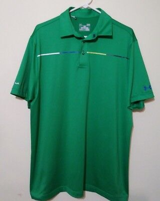 Men' Under Armour Cold Black Short Sleeve Polo Shirt Size L (NWOT) Green