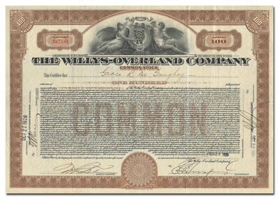 Willys-Overland Company Stock Certificate (Famous Auto Maker)