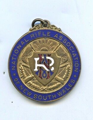1925 Enamelled National Rifle Association Nsw Medal Angus & Coote Aust V52