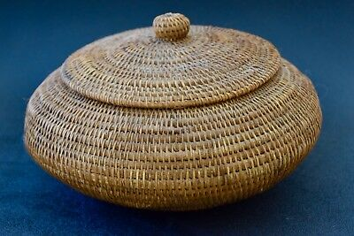 Vintage  Weaved Basket With Lid - Very Good Condition