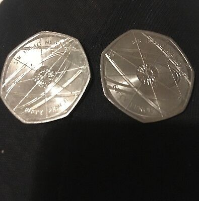 Two Sir Issac Newton 50p Fifty Pence Coin Rare Collectable, great condition