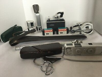 Vintage Minox B with Accesories, Tripod, Tripod Mount, Flash, Binoc Attach.,more
