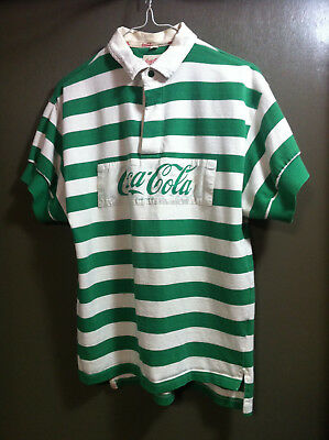 Coca Cola Green Striped Rugby Shirt Polo Button Up Short Sleeve Size 3