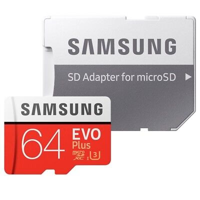 64GB Samsung EVO PLUS 100MB/s Micro SD SDHC SDXC TF UHS-I Class10 Card + ADAPTER