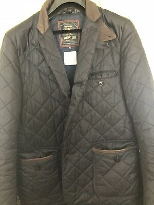 Barbour Quilted Men's XL Jacket Blue Tartan Coat W/ Brown Leather Trim NWOT,