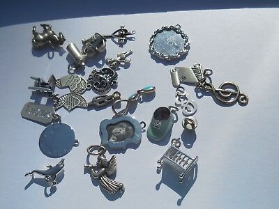 Lot Sterling Silver 925 VINTAGE CHARMS-HIGH CHAIR,ENAMEL SHOE,WATER POT,ETC