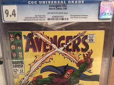 Avengers #52 CGC 9.4 ow/w.  Black Panther joins Avengers.  Infinity War.