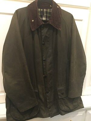 Men's Barbour Beaufort Green Waxed Wax Cotton Jacket Coat C44/112CM Size Large