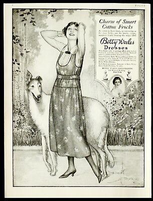 1918 BETTY WALES Women's Fashion Dresses Collie Dog ARMSTRONG ART Vtg VOGUE AD