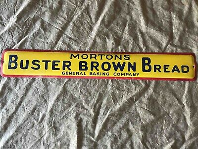 Vintage Hortons Buster Brown Bread General Baking Company Tin Advertising Sign