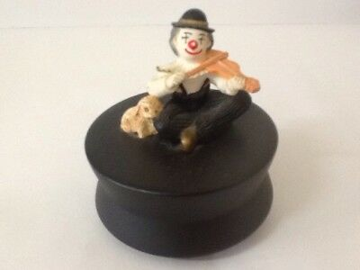 Vintage Collectable Rotating Music Box With Clown,Dog And Fiddle - Mint