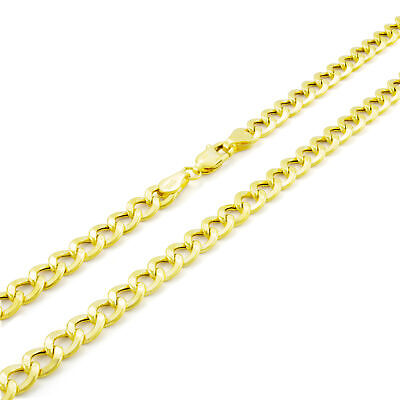 14K Yellow Gold 5MM 24in Italy Cuban Curb Link Chain Necklace Lobster Clasp 24""