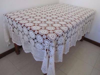 Vintage Heirloom Hand CROCHET TABLECLOTH lk