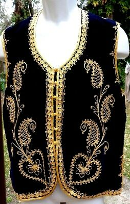 "Elaborate Black/Gold Middle Eastern Heavily Decorated Costume Vest S-M/ 43""width"