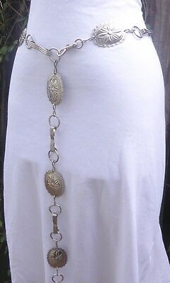 """Vintage Silver Tone Metal Embossed Concho Style Chain Belt  47"""" long"""
