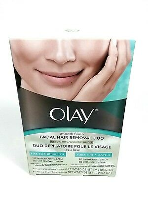 OLAY SMOOTH FINISH FACIAL HAIR REMOVAL DUO-FINE TO MEDIUM HAIR 1 kit NEW