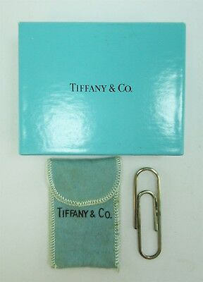 Signed Tiffany & Co Sterling Silver Large Paper Clip w/ pouch & box NoMonogram