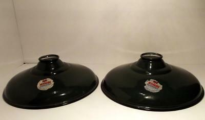 Pair Vtg NOS Silv-A-King Green Porcelain Industrial Light Shades Bridgeport, CT
