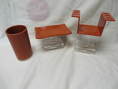 Vintage Mid Century Clear,orange Lucite Toothbrush Holder,cup,soap Dish,plastic