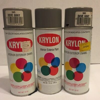 Lot Of 3 Krylon Dove Gray 1605 Vintage Spray Paint Can Mostly Full