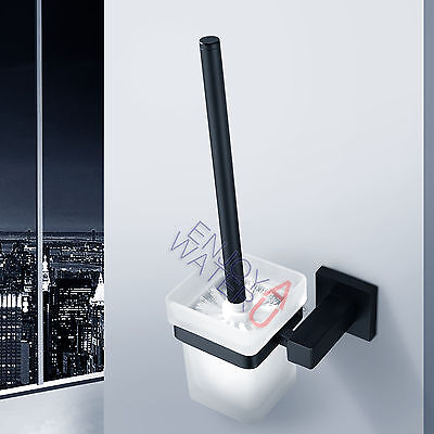 Bath SS304 Black Toilet Brush Holder Skidproof Glass Cup Set Wall Mounted Wash