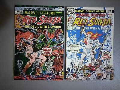 MARVEL FEATURE presents RED SONJA #3 and #4.......GREAT SHAPE....BRONZE AGE