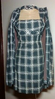 NEW Vintage 1960s Mod Jackie O Wool Cape Coat & Matching Wiggle Dress Set of 2