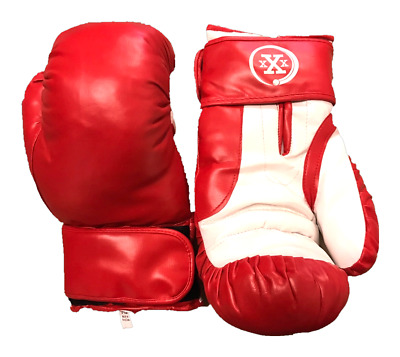 ADULT UNISEX 16 OZ BOXING GLOVES PAIR PRACTICE TRAINING Faux Leather Red