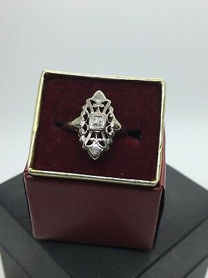 Fine Antique 1920 Art Deco 14k White Gold Diamond Filagree Shield Ring Size 5.75