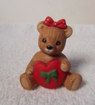 Vintage HOMCO -  Valentine Bear w/Red Heart and Polka Dot Bow  #1413