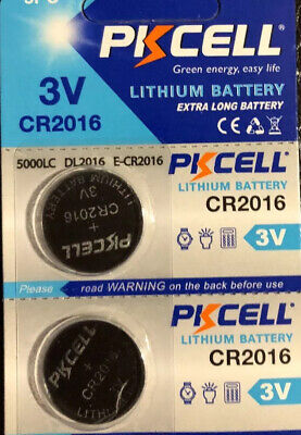 2 PKCELL Button Battery CR2016 3V Lithium.EXTRA LONG BATTERY/Fast Shipping.