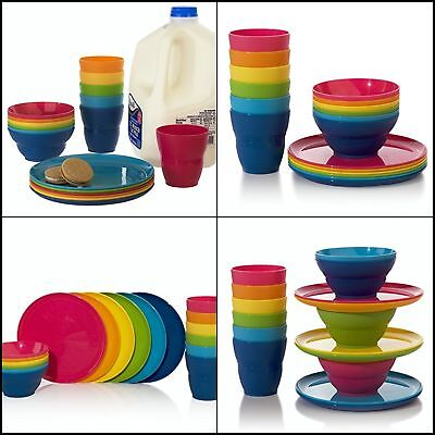 Plastic Snackware Set of 18 Includes Tumblers Snack Bowls & Snack Plates Durable