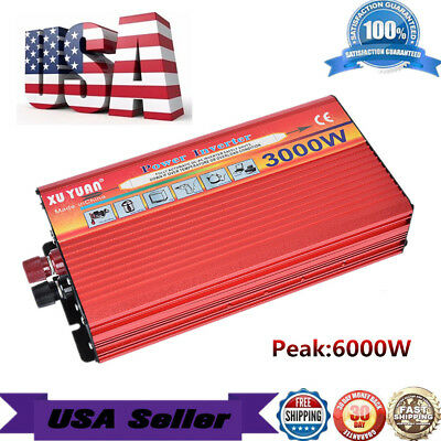 US 3000W Peak 12V To 110V Car Home LED Power Inverter Converter Charger Adapter