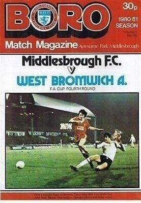 Middlesbrough v West Bromwich Albion 24/01/81 (Ayresome Park) football programme