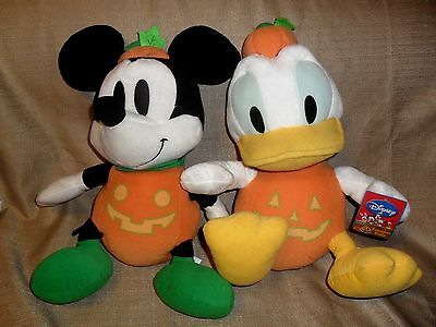 "Htf Disney Sega Donald Duck & Mickey Halloween ""pumpkin Body"" Plush 13"" Mwt"