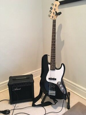 Used -  Artist JB2PK Black Electric Bass Guitar + Amp and Accessories