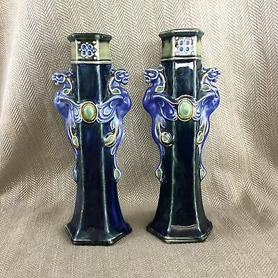 Pair Antique Doulton Lambeth Vases Art Nouveau Francis Pope Dragon Griffin RARE