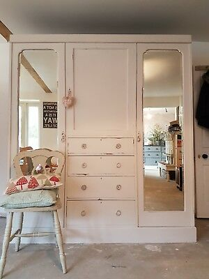 Vintage Victorian Triple Wardrobe painted in HESSIAN comes apart