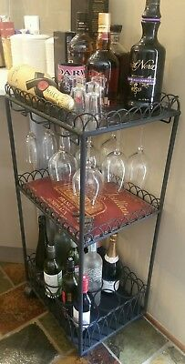 ☆ Rare French Drink Trolley Bar Storage Serving Cart Deluxe Furniture Wine rack☆
