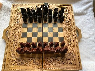 Hand Carved Cempaka Wood Balinese Chess Set