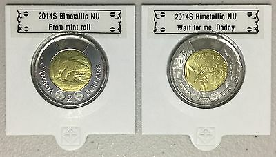 CANADA 2014 New Complete set 2 x Toonies (BU directly from mint roll)