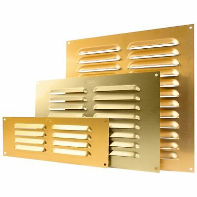 "GOLD WALL MOUNT AIR VENT Louvre 3"" 6"" 9"" Metal Ventilation Grille Duct Fly Cover"