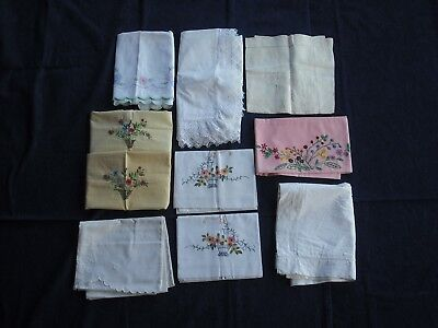 Job lot of 10 vintage pillowcases with embroidery/lace H2