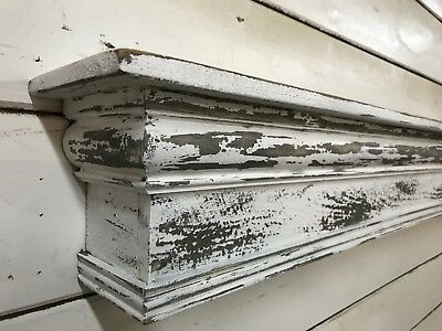 Farmhouse Mantle Shelf, Shabby Chic Mantle, Chippy Paint Mantle, 60 inches