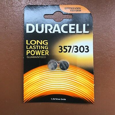 2 x Duracell 357 / 303 1.5V Watch Battery D357H D357/303 V303 SR44 NEW