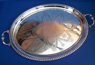 Vintage Silver Plated Large Oval Twin Handled Engraved Tea/Serving Tray
