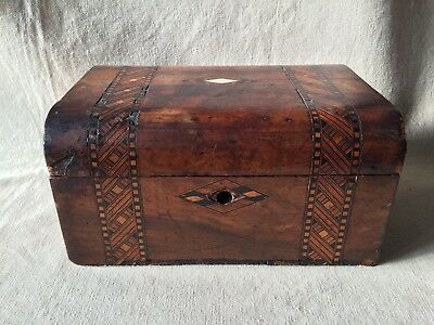 Gorgeous Small Antique Shabby Chic MARQUETRY BOX - MOP inlay 13 cm tall